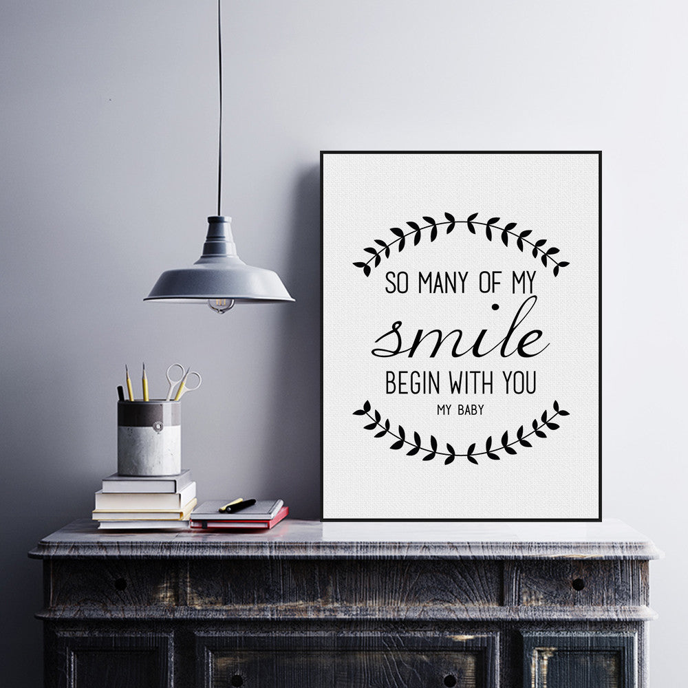 Modern Black White Nordic Minimalist Typography Smile Love Quotes Art Print  Poster Wall Picture Canvas Painting