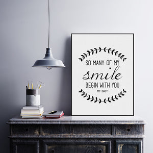 Modern Black White Nordic Minimalist Typography Smile Love Quotes Art Print Poster Wall Picture Canvas Painting Home Decoration