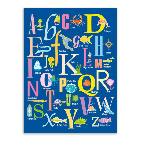 Modern Cartoon Sea Animals Alphabet Chart A4 Art Print Poster Kawaii Wall Picture Canvas Painting No Framed Kids Room Home Decor