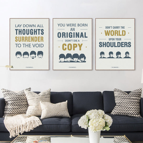 Vintage Triptych Modern Pop Beatles Music Quotes Canvas A4 Big Print Poster Wall Picture Bar Living Room Decor Painting No Frame