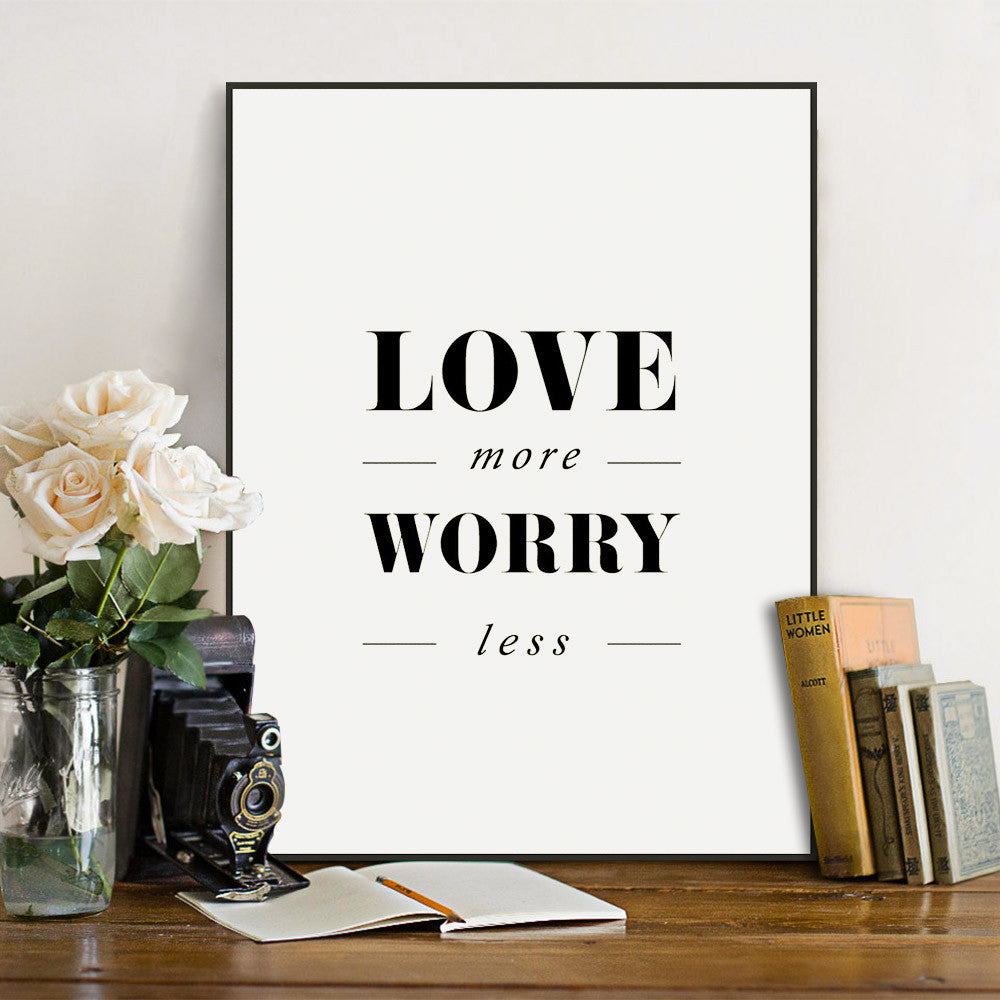 Love Quotes On Canvas Modern Minimalist Black White Typography Love Quotes A4 Big Art