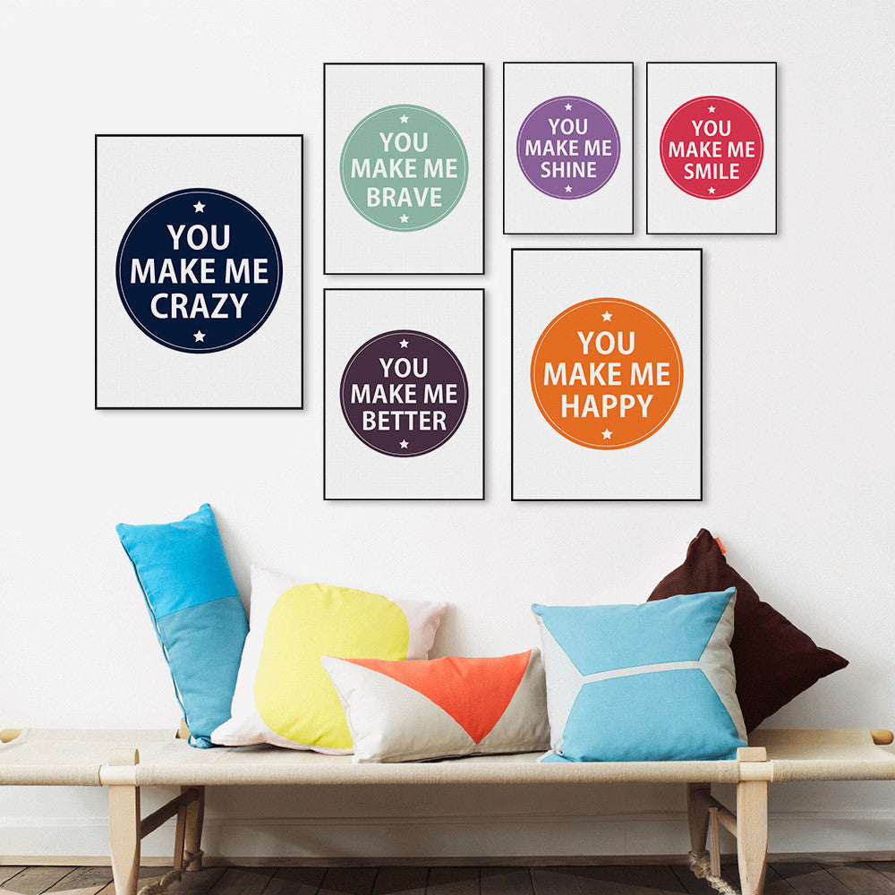 Minimalist Nordic Colorful Motivational Typography Quotes Poster Print Wall Art Picture Kids Room Decor Canvas Painting No Frame