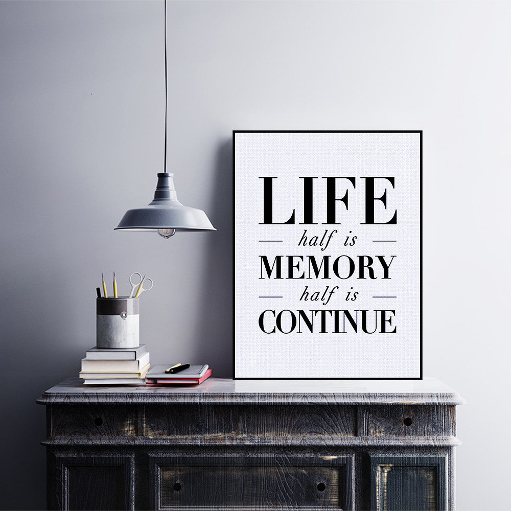 Life Quote Poster Black White Nordic Motivational Typography Life Quotes A4 Art