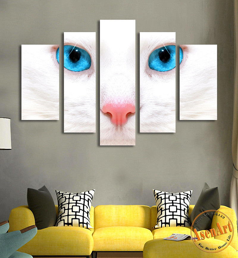 5 Panel Wall Art The Eye of White Cat Painting Picture Canvas Print Animal Wall Pictures for Living Room Home Decor No Frame