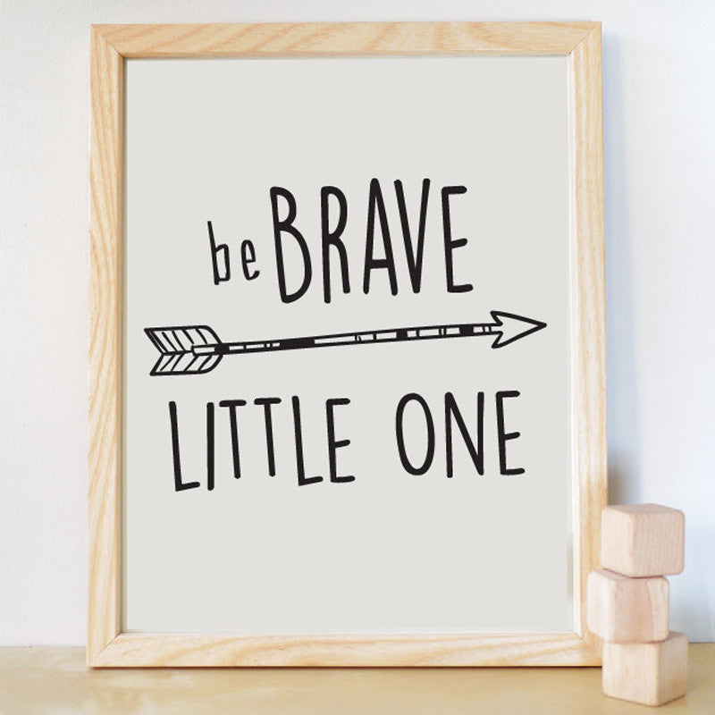Be Brave Little One Print Canvas Wall Art Quote , Kids Room Decor Nursery Decor, Frame Not included