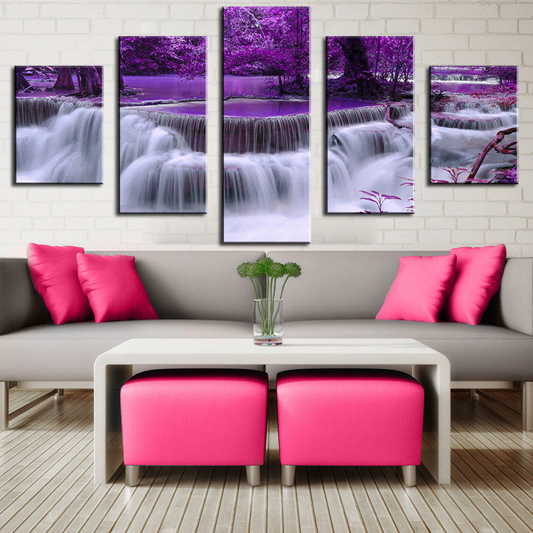 COLOR NO FRAME 5pcs purple waterfall Oil Painting Printed Painting Oil Painting On Canvas Oil Painting for Home Decor Wall Decor