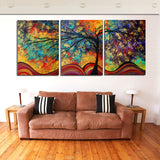 Large Wall Art Home Decor Abstract Tree Painting Colorful Landscape Paintings Canvas Picture For Living Room Decoration No Frame