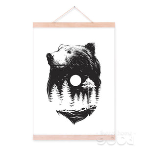 Bear with Forest Sketch Canvas Art Print Painting Poster, Wall Pictures For Home Decoration, Wall Decor S008