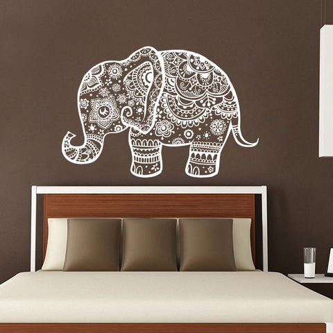 Three elephant wall decals india mandala buddha om vinyl bedroom wall ellaseal for Stickers para dormitorios