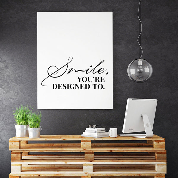 Smile Inspirational Wall Art, Print Quote Modern Canvas Art Painting Wall Pictures For Bedroom Living room Decor, No Frame
