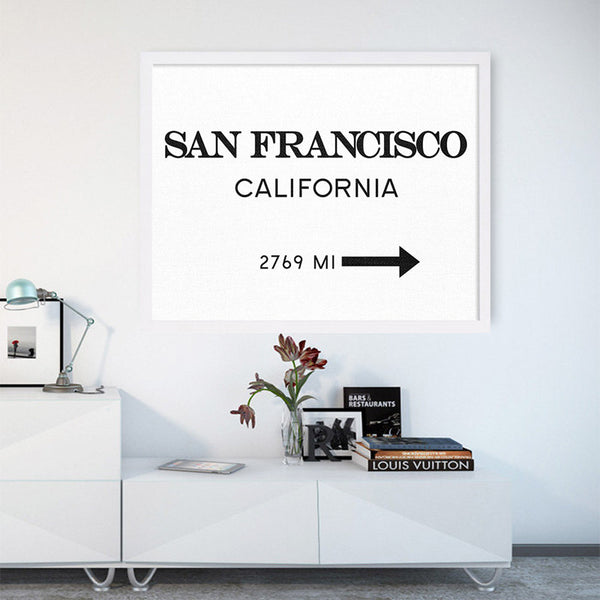 San Francisco Print California City Sign Modern Print Art Posters Canvas Art Painting Wall Pictures for Living Room, No Frame