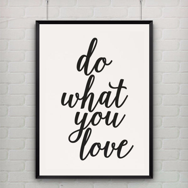 Printable Art Canvas Art Print Poster Do What You Love Print Motivational Quote Office Home Apartment Decor, Frame Not included