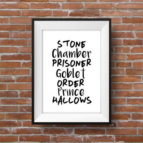 Canvas Art Poster Harry Potter Book Titles Gift Idea - Bookshelf Art Children's Room Print Art, Frame Not included