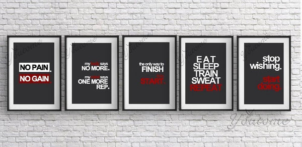 5 options Gym fitness motivation poster vinyl Decal,inspiration quotes wall sticker home decor painting