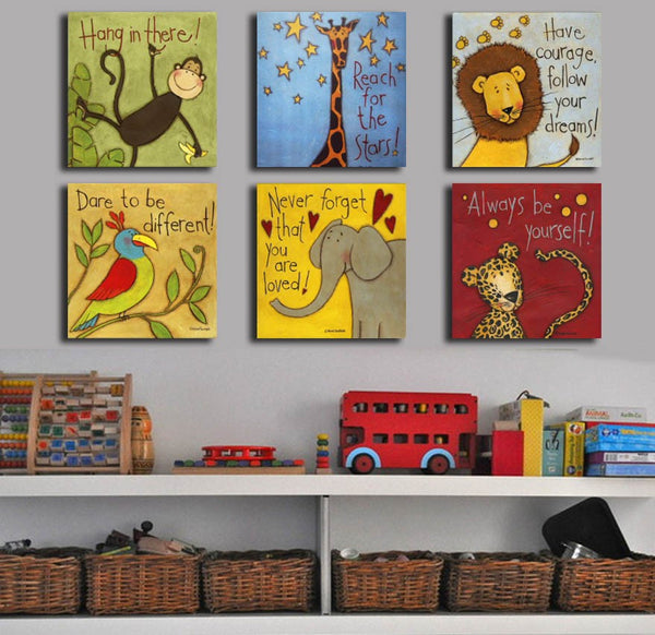 Canvas painting Oil Painting 6 pieces/set Modern cartoon animals wall pictures kids room No Frame,modern painting