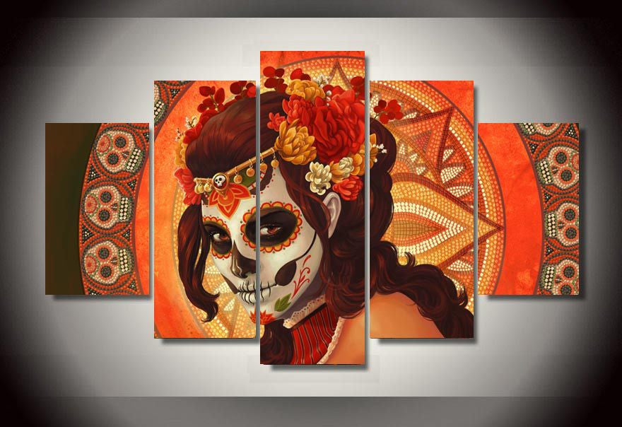5 piece canvas art set Day of the Dead Face Group Painting room decor print poster picture canvas decoration dia de los muertos