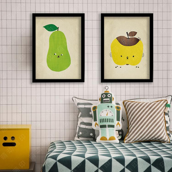 Kids Inspiration Quotes canvas posters and prints decorative wall designs for room pear/apple painting frame quadros de parede