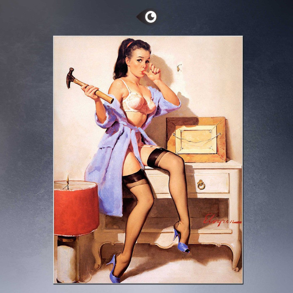 HUGE  POSTER ART PRINT ON CANVAS FOR Elvgren Pin-Up Girl The Wrong Nail Poster