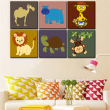 your photo wall art Canvas painting Oil Painting 6 pieces/set Modern cartoon animals wall pictures kids room wall decor No Frame