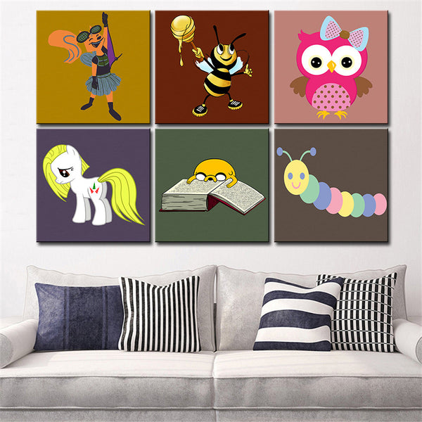 POP wall art Canvas painting Oil Painting 6 pieces/set Modern cartoon animals wall pictures kids room wall decor No Frame