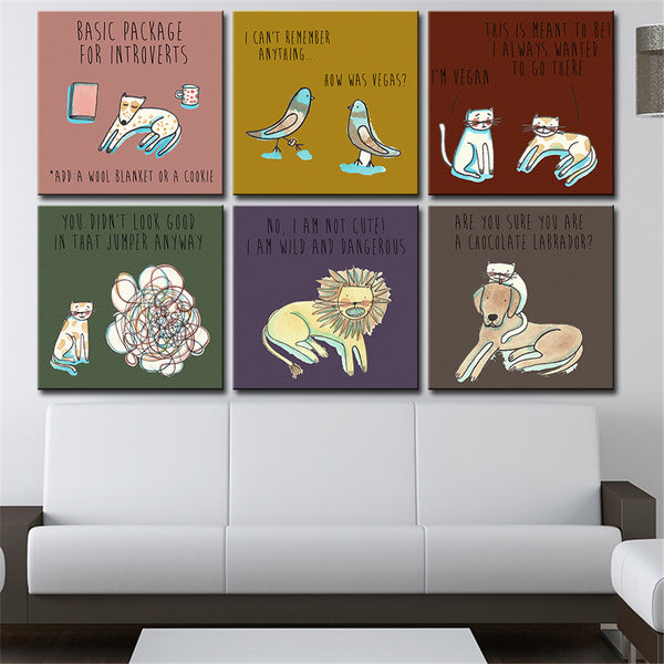 modern wall art Canvas painting Oil Painting 6 pieces/set Modern cartoon animals wall pictures pop room wall decor No Frame