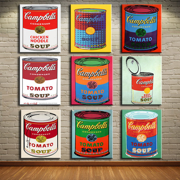 andy warhol 9 PCS set campbell-s-soup-can-beef oil painting Prints Painting on canvas No frame  Pictures Decor For Living Room
