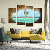 4PCS cave seacape  living rooms set Wall painting print on canvas for home decor ideas paints on wall pictures art No framed