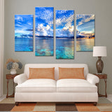 4PCS beautiful ocean sunset landscape Wall painting print on canvas for home decor ideas paints on wall pictures art No framed