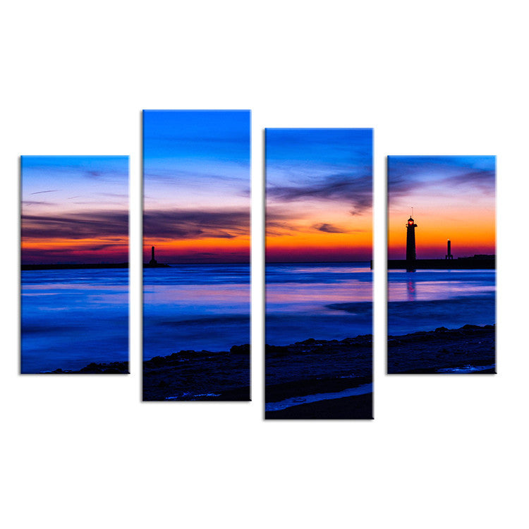 Nature Lighthouse Sundown Seascape Wall Painting Print On Canvas For Home Decor Ideas Paints On Wall Pictures Art No Framed