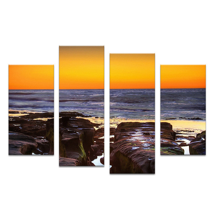 4PC Large HD Seaview With ShipTop-rated Wall painting print on canvas for home decor ideas paints on wall pictures art No framed