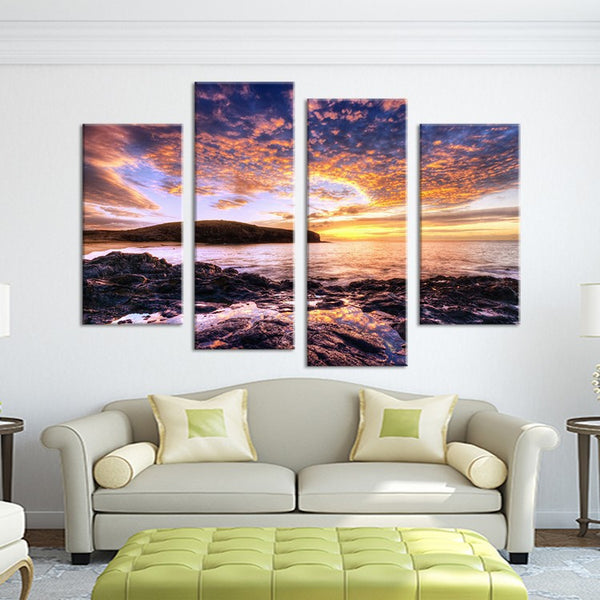 4PCS beautiful sunset seascape  Wall painting print on canvas for home decor ideas paints on wall pictures art No framed