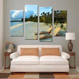 4PCS bright sunshine on beach paints Wall painting print on canvas for home decor ideas paints on wall pictures art No framed