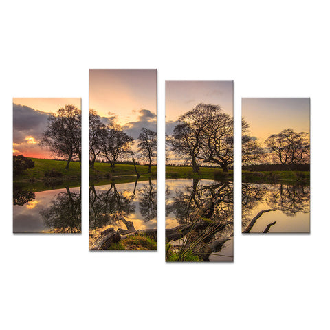 4PCS paints sunset tree art  decorative Wall painting print on canvas for home decor ideas paints on wall pictures art No framed