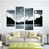 4PCS mountain lake night Wall painting print on canvas for home decor ideas paints on wall pictures art No framed