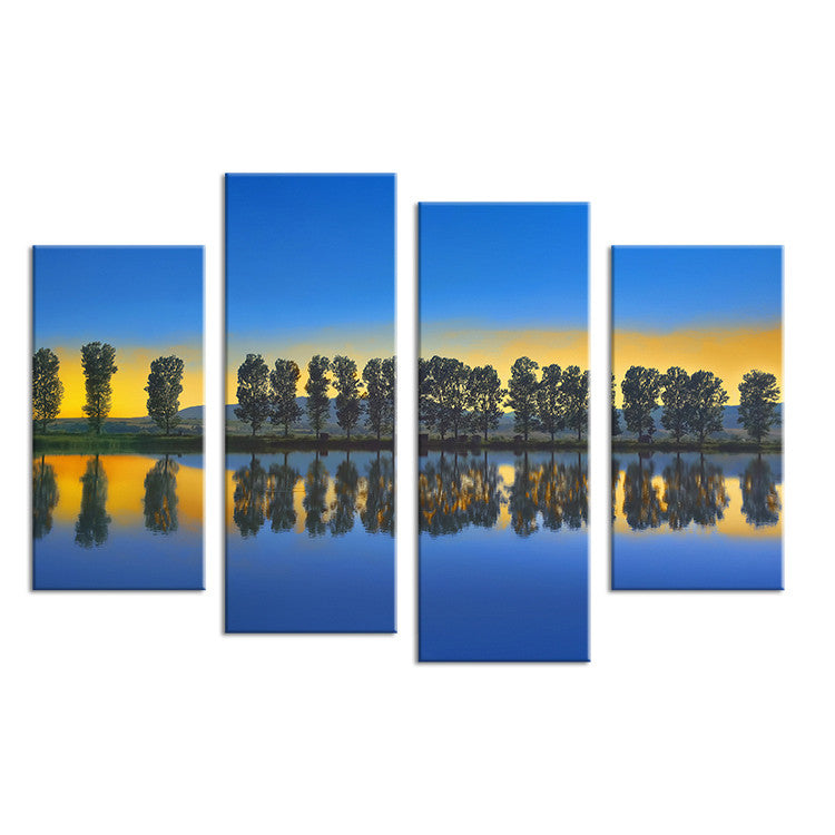 4PCS paints tree in the river scape Wall painting print on canvas for home decor ideas paints on wall pictures art No framed