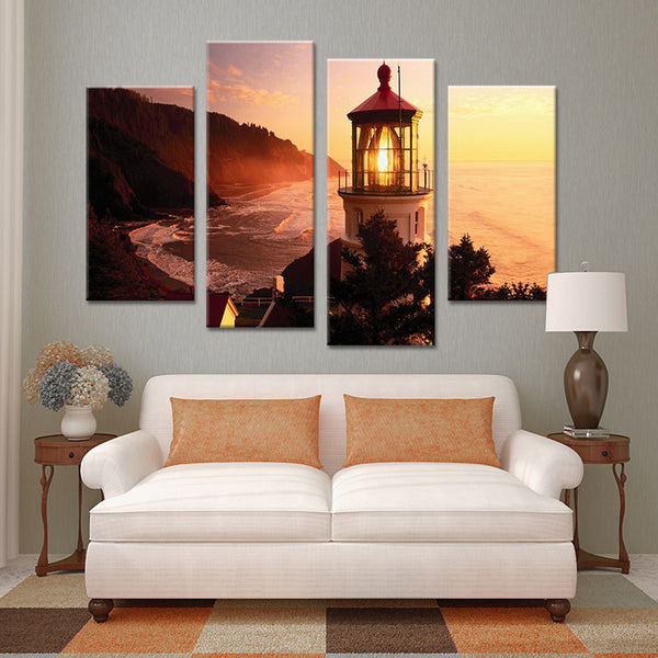 4pcs tower light landscape Wall painting print on canvas for home decor ideas paints on wall pictures art No framed