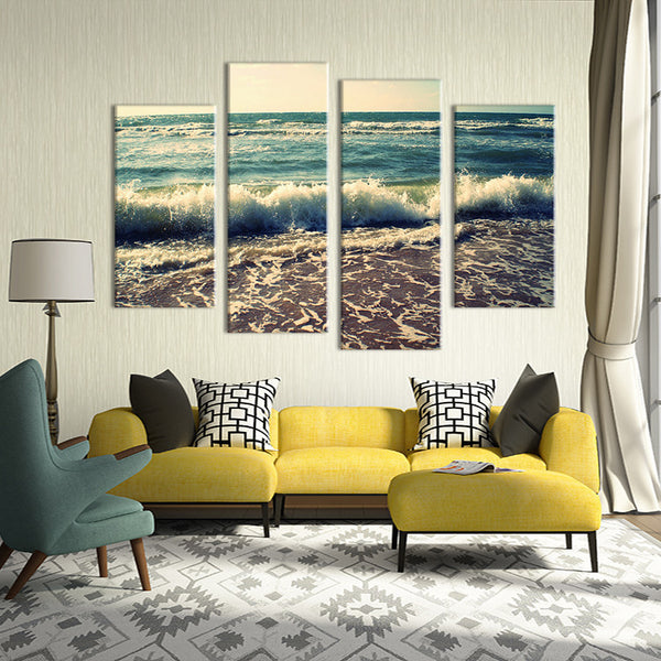 4PCS wave seacape  living rooms set Wall painting print on canvas for home decor ideas paints on wall pictures art No framed