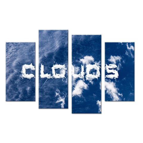 4PCS cloud words set paints Wall painting print on canvas for home decor ideas paints on wall pictures art No framed
