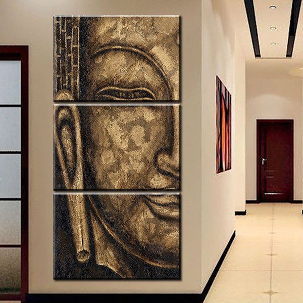 Free Shipping High Quality HD Group Oil Painting 3 Panel Wall Art Religion Buddha Oil Painting On Canvas NO Framed wall picture