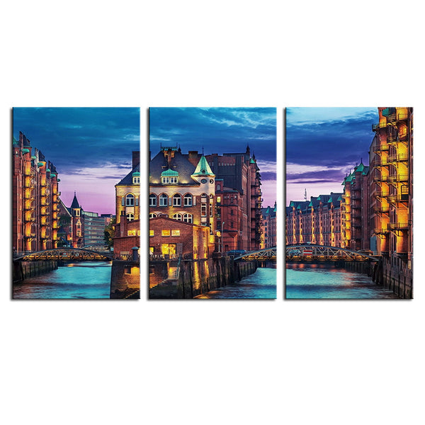 NO FRAME 3pcs buildings in hamburg city buildings on water Printed Oil Painting On Canvas Oil Painting for Home Decor Wall Decor