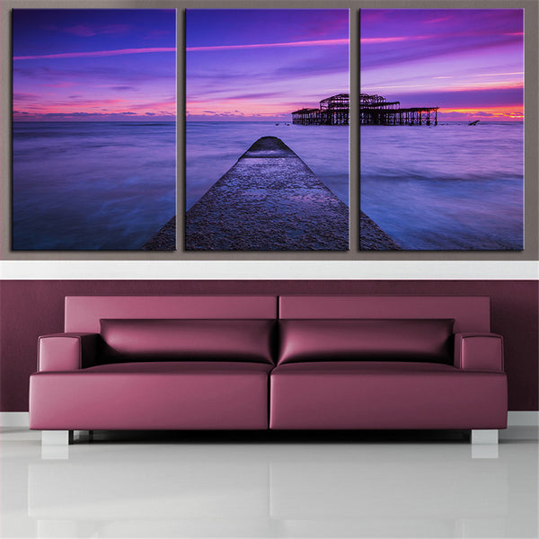 NO FRAME 3pcs England pier UK Brighton sea ocean sunset Printed Oil Painting On Canvas wall Painting for Home Decor Wall picture