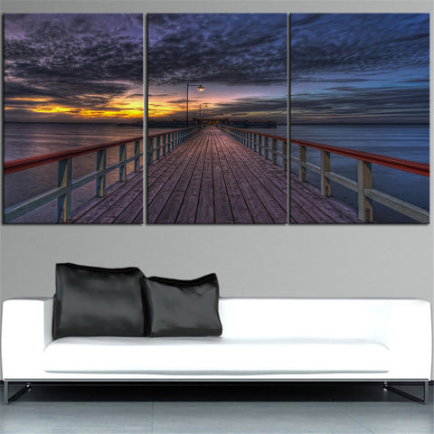 NO FRAME 3pcs sunset on a great pier building Printed Oil Painting On Canvas wall Painting for Home Decor Wall picture