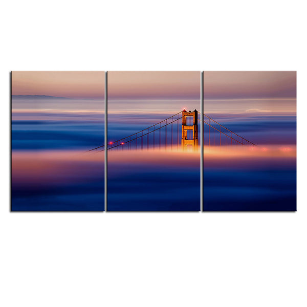 NO FRAME 3pcs golden gate bridge golden gate briusa Printed Oil Painting On Canvas wall Painting for Home Decor Wall picture