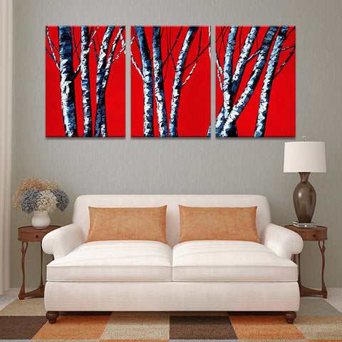 3 PIECES MODERN ABSTRACT HUGE WALL ART OIL PAINTING ON CANVAS PRINT FOR THE RED BACK AND BRICH TREES  FREE SHIPMENT No FRAME