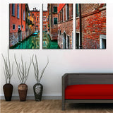 NO FRAME 3pcs beautiful view of the street in venice Printed Oil Painting On Canvas Oil Painting for Home Decor Wall Decor