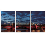 NO FRAME 3pcs red-southwark-bridge-crossing-the-river Printed Oil Painting On Canvas Oil Painting for Home Decor Wall Decor