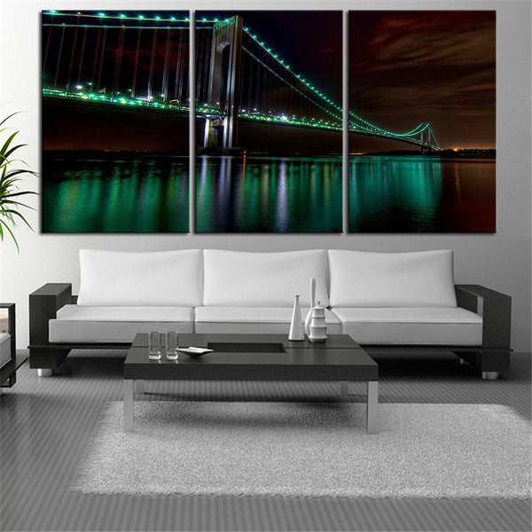 NO FRAME 3pcs the golden gate bridge night view wide Printed Oil Painting On Canvas wall Painting for Home Decor Wall picture