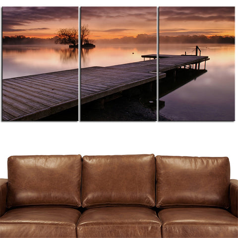NO FRAME 3pcs reflection lakes water sunrise sunset sky Printed Oil Painting On Canvas wall Painting for Home Decor Wall picture