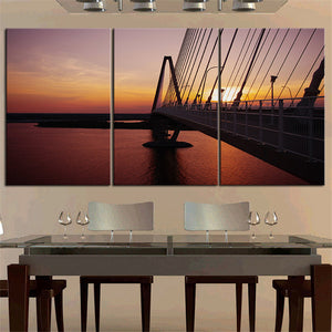 NO FRAME 3pcs Ravenel Bridge at Sunset Printed Oil Painting On Canvas wall Painting for Home Decor Wall picture