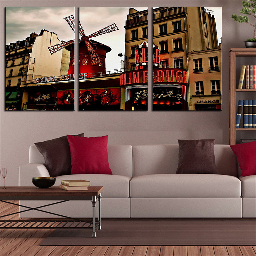 NO FRAME 3pcs moulin-rouge-bolero-paris Printed Oil Painting On Canvas Oil Painting for Home Decor Wall Decor